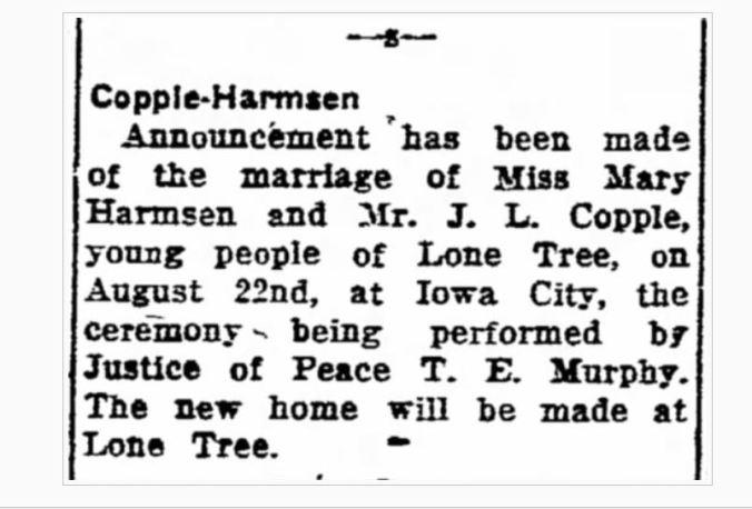 Harmsen_Copple 1923 Nuptials