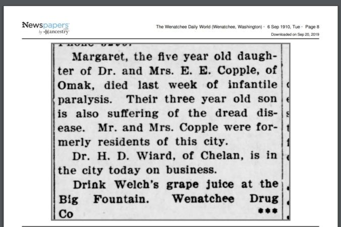 Margaret Bertha Copple died young
